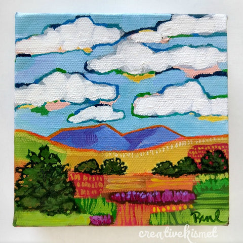 Fields of Every Color - 5 x 5 Original Artwork
