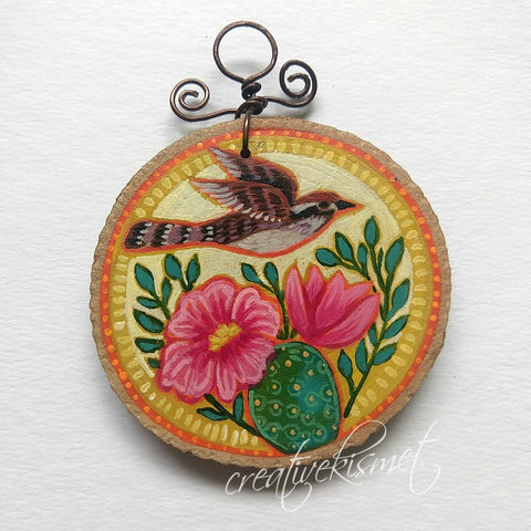 Everyday Wood Slice Ornament - Flying Cactus Wren