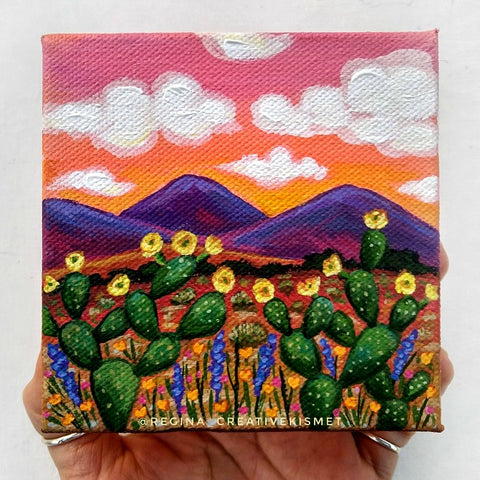 Piink Sunset - 4 x 4 Original Artwork