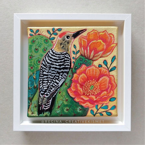 Cactus Bloom Bird - Gila Woodpecker - Original Artwork