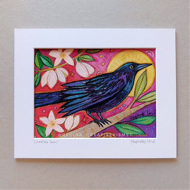 Grackle's Sun - Matted Original Painting