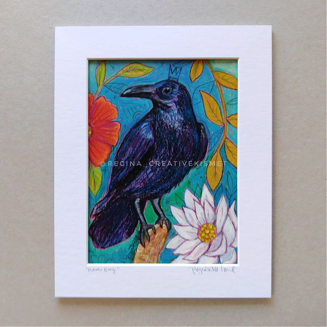 Raven King - Matted Original Painting
