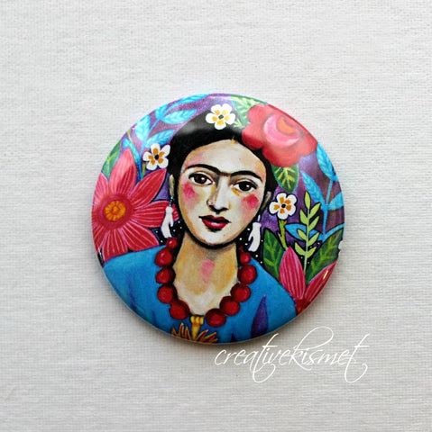 MexicanArtist with Flowers - Pocket Mirror