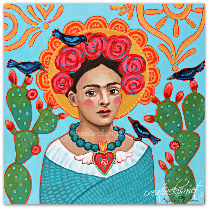 MexicanArtist with Black Birds - Art Print