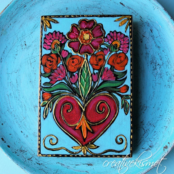 Milagro Plaque -Blooming Heart
