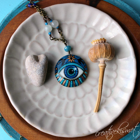 Hand-painted Art Pendant Necklace - Eye of Light
