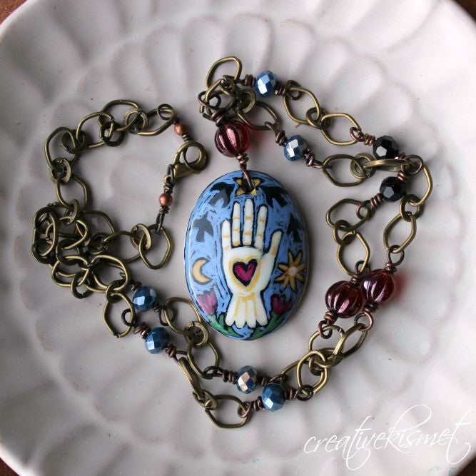 Hand-painted Art Pendant Necklace - Heart in Hand