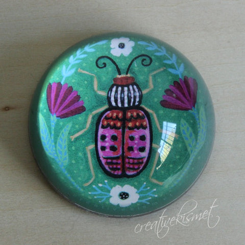 Pink Beetle Paperweight - small