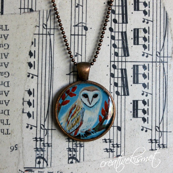 Owl  -  Art Pendant Necklace