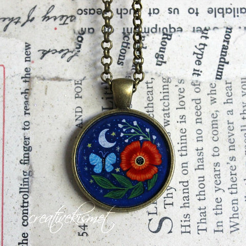 Night Bloom -  Art Pendant Necklace