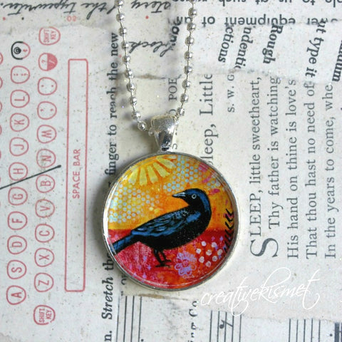 Little Black Bird  -  Art Pendant Necklace