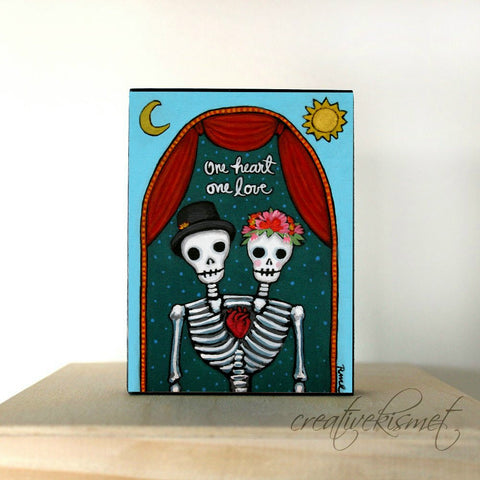 One Heart One Love - Day of the Dead Couple - Art Block