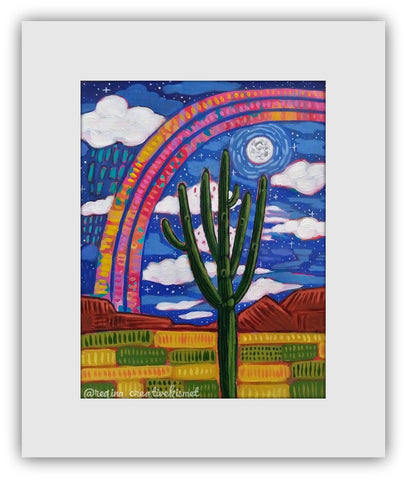 Desert Arches  - Moonlit Desert Arch - Matted Original Painting