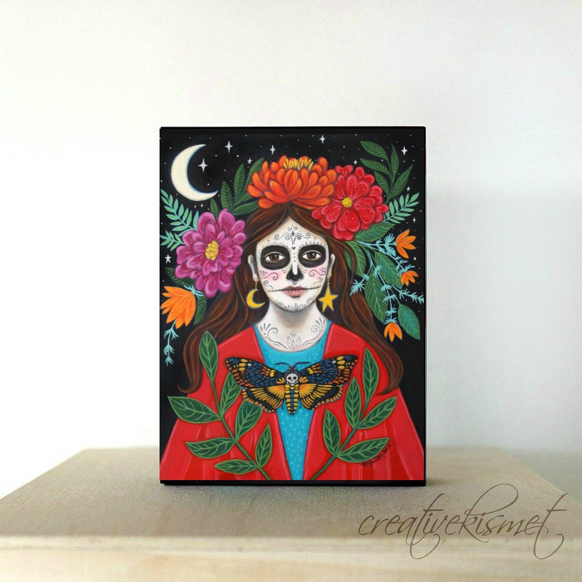 Under the Crescent Moon - Day of the Dead Girl- Art Block