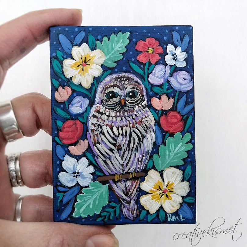 Mini Art - Night Garden Owl - Original Art