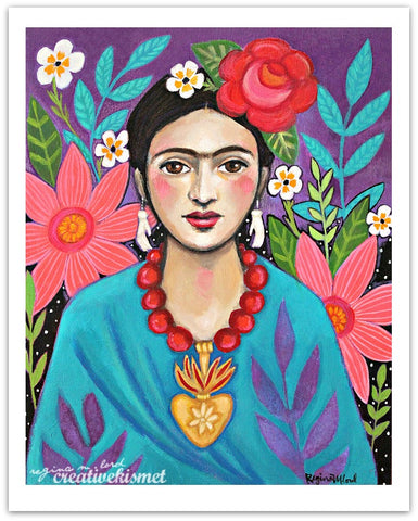 MexicanArtist with Flowers - Art Print