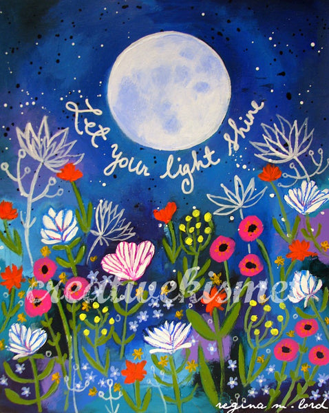 Let Your Light Shine - Full Moon over Garden Art Print
