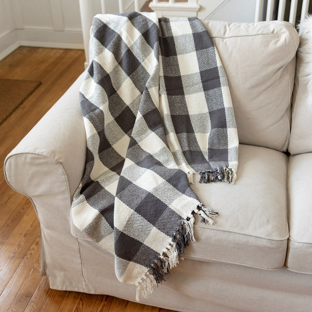 Cotton Throw Gray Buffalo Check