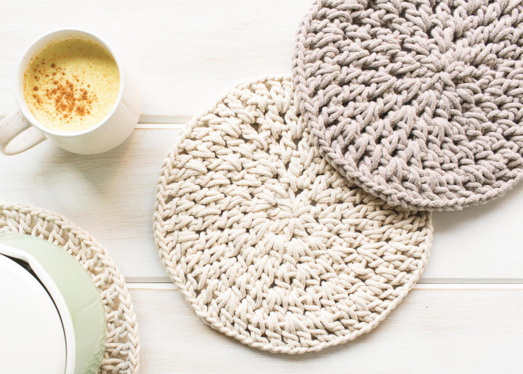 Knitted Trivet - Natural