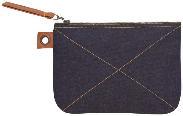 Zippered Cosmetic Pouch Denim Blue