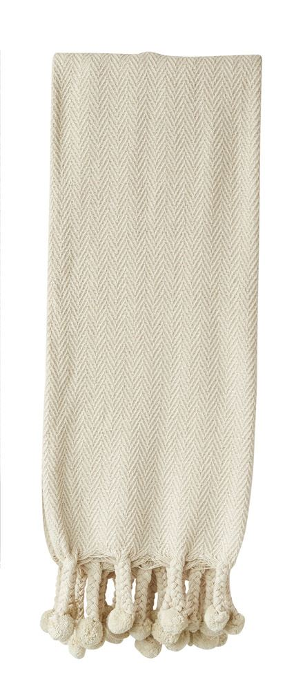 Cotton Throw with Pom Pom Trim, Cream