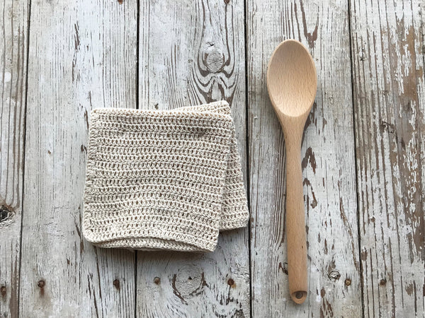 Dishcloth Set - Homespun Crocheted - Natural Color