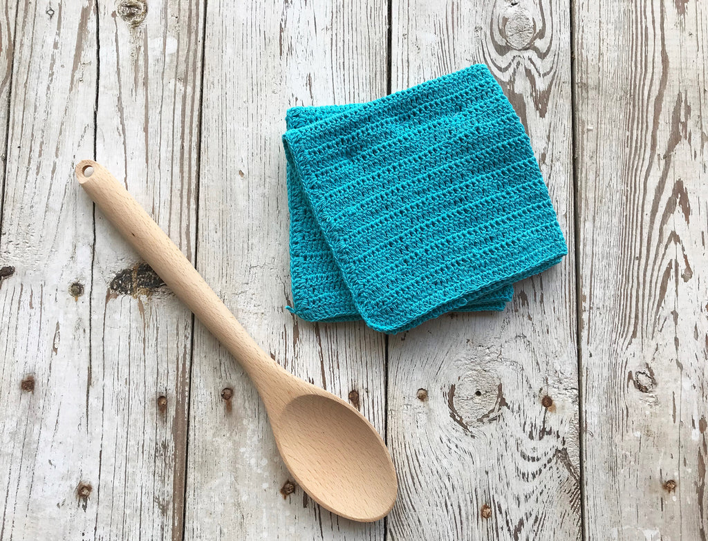 Dishcloth Set - Homespun Crocheted - Blue