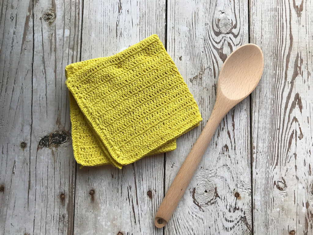 Dishcloth Set - Homespun Crocheted - Yellow