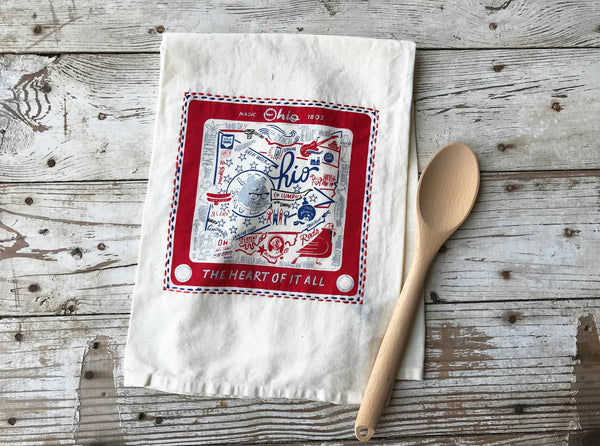 Dish Towel Ohio Embroidered