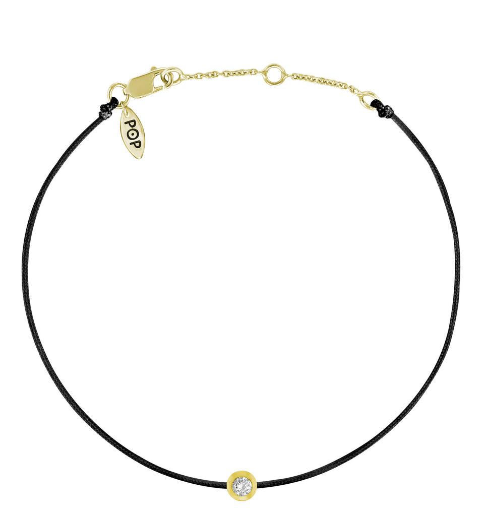 POP .10cts Diamond Bracelet/Anklet - Black/Yellow Gold
