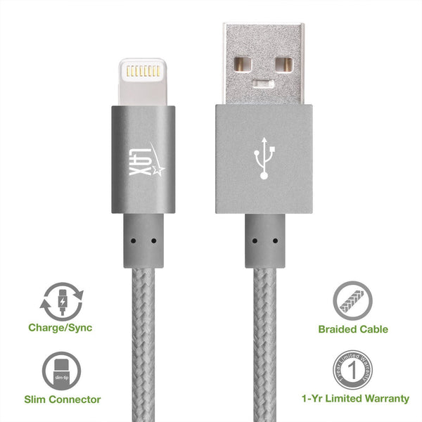 buy popular 6e95c 92d73 [2 Pack] iPhone charger, LAX Gadgets Lightning to USB Braided Cable (4ft)  for iPhone 6s 6 Plus 5s 5c 5, iPad Pro Air 2, mini [Apple MFi Certified] ...