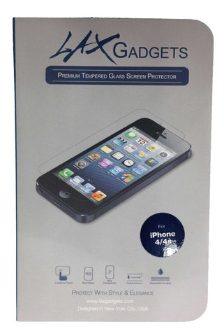 LAX Gadgets Rounded Edges Tempered Glass Screen Protector Clear for iPhone 4/4s - Retail Packaging - Clear