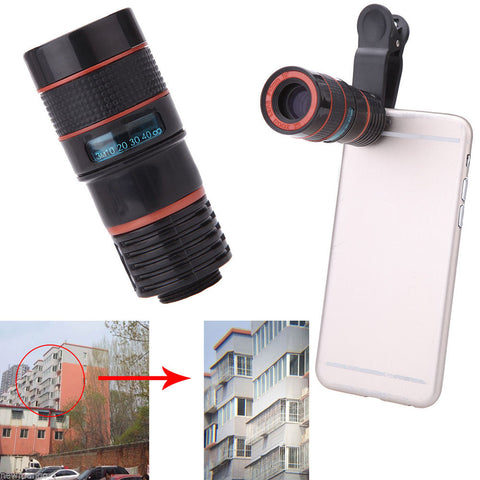 Universal 8X Zoom Mobile Phone Telescope Camera Lens with Clip