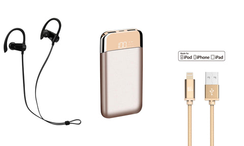 Bundle: 12,000mAh Power Bank with Bluetooth Sports earphones and Apple Certified Lightning Cable (4ft)