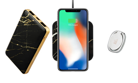 Bundle: Marble Power Bank, Wireless Charger (10W) and Grip Ring for Smartphones