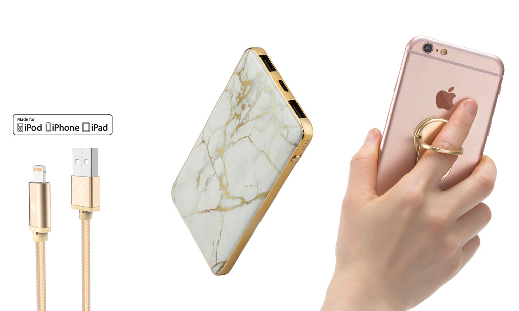 Bundle: Marble Power Bank 8000mAh with USB Type C Port and Apple Certified  Lightning Cable and Phone Holder Ring