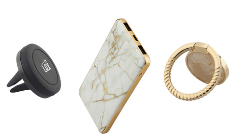 Elegant Marble 8000 mAh Power Bank with Marble Ring Phone Stand and Magnetic Car Mount