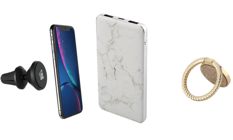 Elegant Marble 8000 mAh Power Bank with Sparkling Ring Phone Stand and Magnetic Car Mount