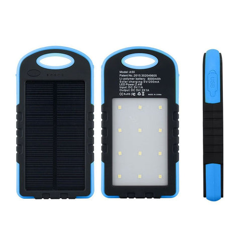 LAX Universal Waterproof 8000mAh portable dual USB solar power bank with LED Light