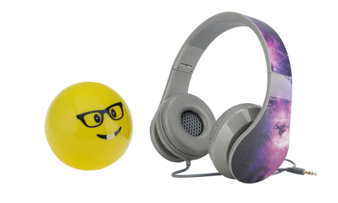 Music Combo: On-Ear Wired Headphones with Fun Emoji Bluetooth Speaker