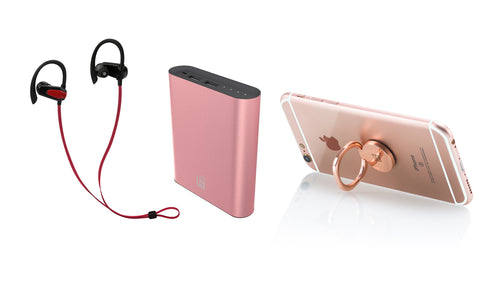 Gym Bundle: Water Resistant Sports Earphones, Compact 12000mAh Power Bank and Grip Ring for Smartphones