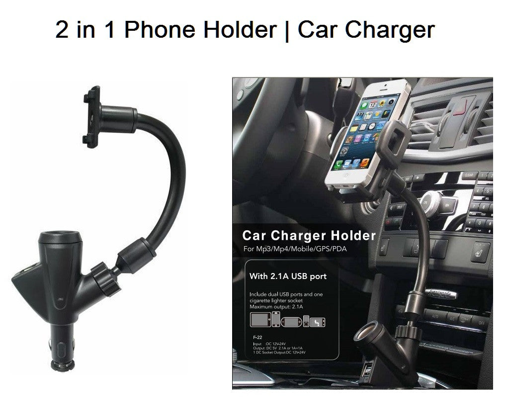Universal 2 In 1 Car Phone Holder With Dual USB Charger For Iphone LAX Gadgets