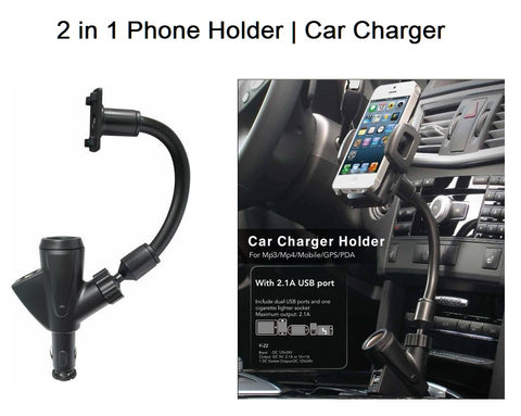 Universal 2 in 1 Car Phone Holder with Dual USB Car Charger for iphone Samsung GPS