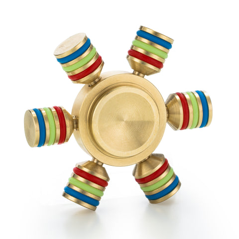 Spin Wars – 6 Sided Metallic Fidget Spinner - Customizable, Glow in the Dark Anxiety, Stress Relief