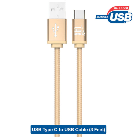 Type C, LAX Gadgets 3 Ft (1M) Braided Cable with Reversible Connector for New Macbook 12 inch, ChromeBook Pixel, Google Nexus 6P / 5X, Asus Zen AiO and Other Devices with USB Type C