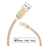 Apple MFi Certified Tough Metal Mesh Lightning to USB Cables (4ft)