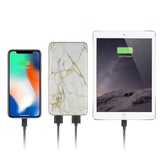 Marble Power Bank 8000mAh with 4ft Apple Mfi Certified Lightning Cable & Phone Ring Stand