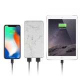 Marble 8000mAh Powerbank with 3-Feet iPhone Charger and Phone Ring