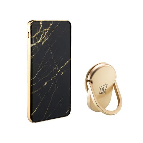 LAX Premium Marble Power Banks 8000mAh with USB Type C input charging with Ring Orbit Phone Holder