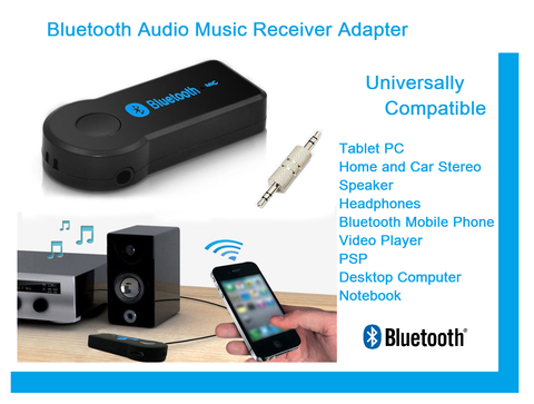 Universal Bluetooth Audio Music Streaming Wireless Receiver AUX Adapter With Mic